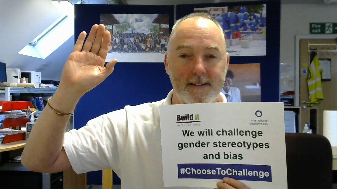 Andrew Jowett raising his hand in support of International Women's Day 2021