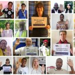 Photo montage of Build It community raising their hands in support of International Women's Day 2021