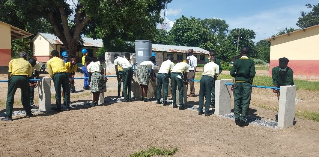 L-shaped hand wash station at Katuba Secondary School